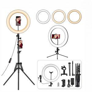 Unazë drite me LED për foto & video, telefona dhe mikrofona me këmbë STATIV - 35CM