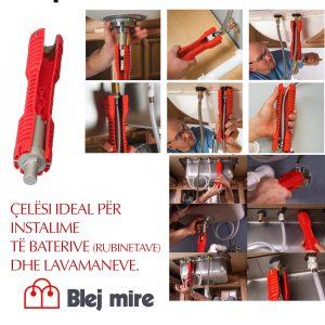 Çelësi ideal për instalime të baterive (rubinetave) dhe lavamaneve.