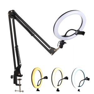 Unazë drite me LED për foto & video, telefona dhe mikrofona. Me këmbë tavoline - 20CM